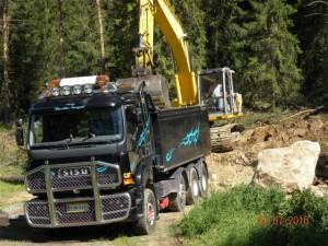 Lastbil   och grävmaskin